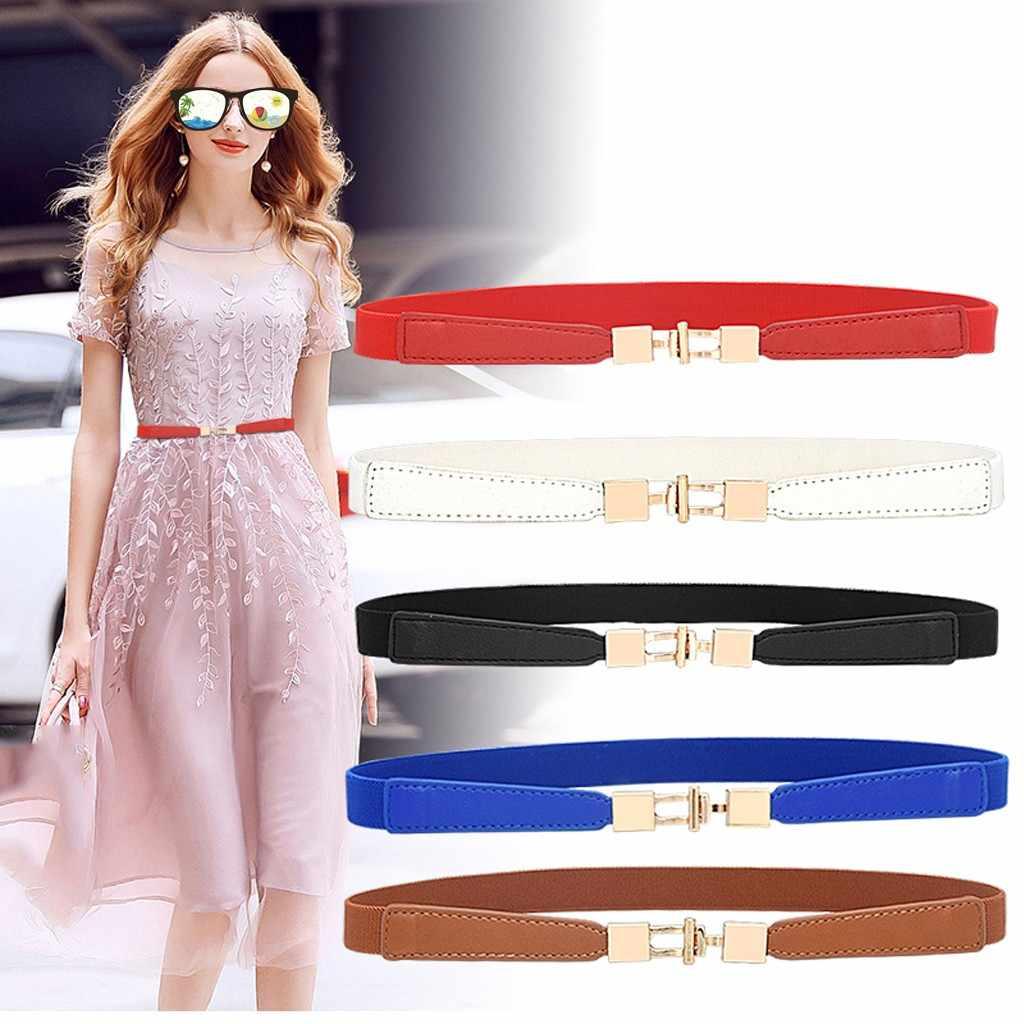 Fashion Vintage Belts For Women Solid Simple Buckle Waist Belt Waistband PU  Leather Elegant Belt For Dresses Jeans Women