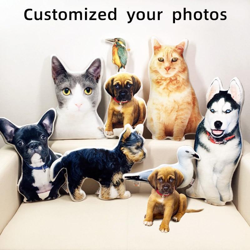 Fotoğraf özelleştirme DIY köpek yastık evcil hayvan için peluş oyuncaklar bebek doldurulmuş hayvan kedi yastık kanepe araba dekoratif yaratıcı doğum günü hediyesi