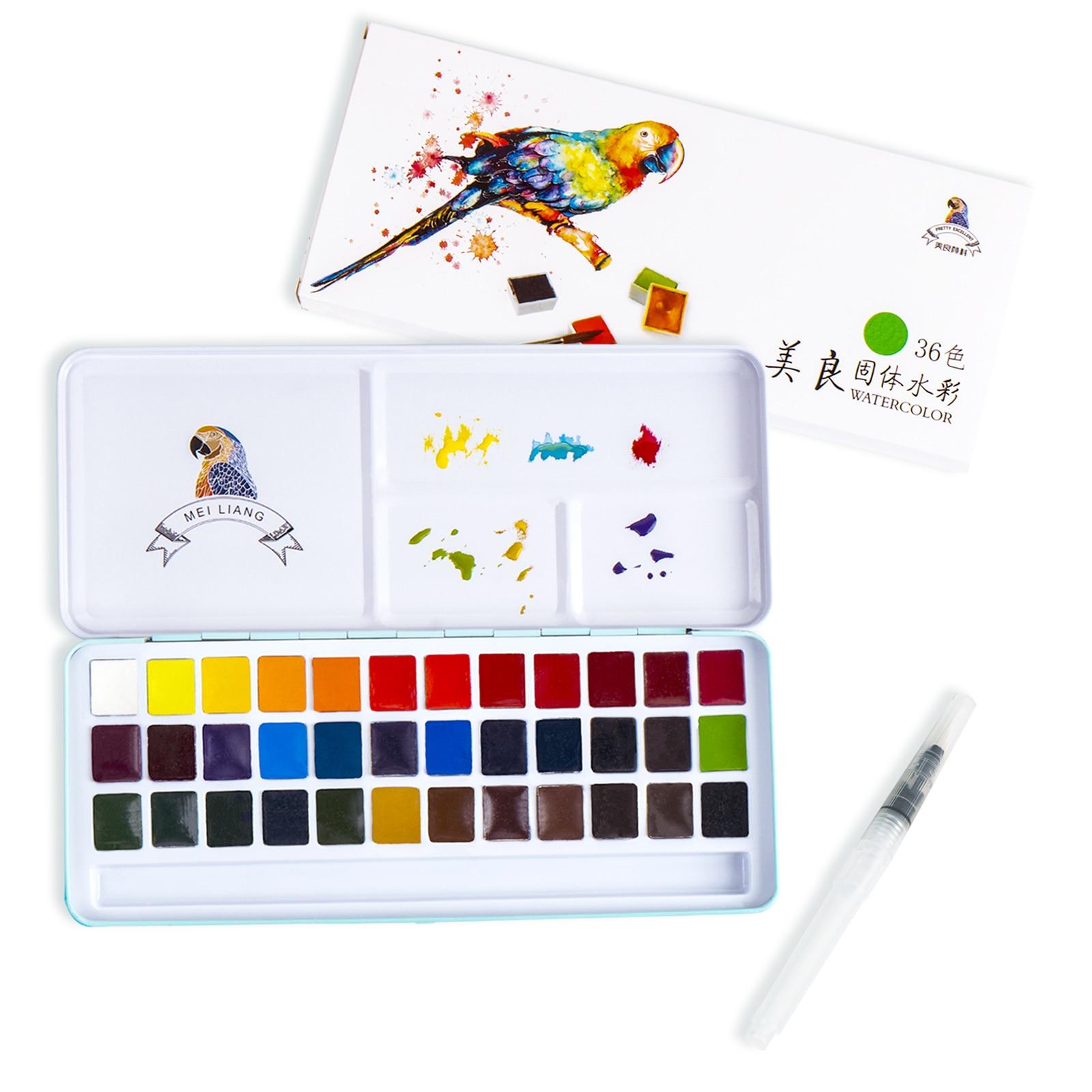 Meiliang 36 цветов s, ТВЕРДАЯ ВОДА, металлическая железная коробка, железная коробка, Карманный Набор для рисования пигментом с кисточкой в подар...