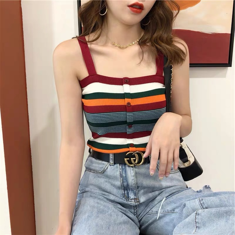 Sexy Knitted Tanktop Female Outer Wear Vest Sleeveless Inner Priming Coat  Polyester Broadcloth Camis Short Striped Casual Crop