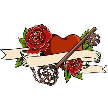 Heart Entwined In Climbing Rose Tattoo Heart Vector Car Stickers Car Styling PVC 13cm X 8cm Vinyl Motorcycl Accessories image