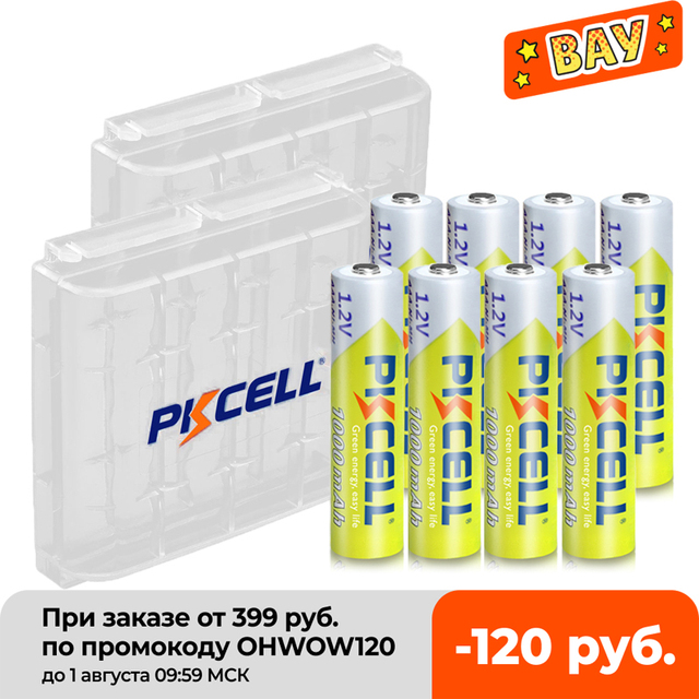 8Pcs PKCELL AAA Battery 1.2V Ni-MH AAA Rechargeable Batteries 1000MAH 3A aaa flashlight battery with 2PC AAA/AA Battery Holder 2