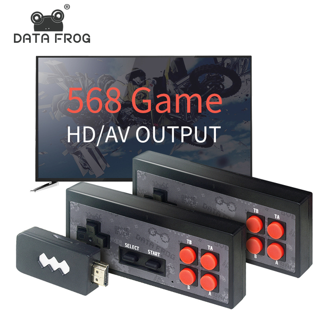 Data Frog USB Wireless Handheld TV Video Game Console Build In 1400 NES classic 8 Bit Game mini Console Dual Gamepad HDMI Output 2