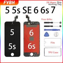 Мобильный телефон класса AAA + + ЖК дисплей для iPhone 5 5s 6 6s 7 3D сенсорный дигитайзер сборка экран Ecran Замена + закаленное стекло