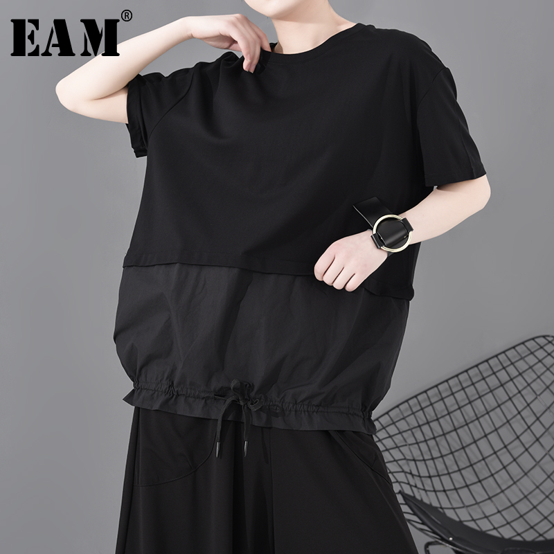 [EAM] Women Blac Contrast Color Drawstring Big Size T-shirt New Round Neck Half Sleeve  Fashion Tide  Spring Summer 2020 1S783