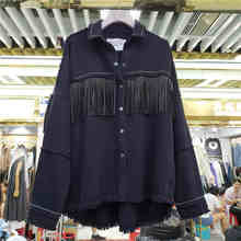 NiceMix 2019 New Spring Autumn Long-sleeved Tassel Jacket Jackets Women's Black Denim Coat Streetwear Girl Lady Overcoat Basic(China)