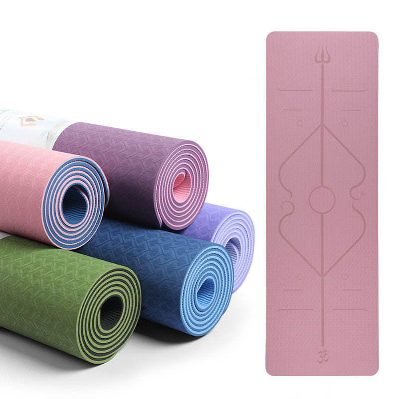 TPE 6mm Double Color Yoga Mat With Body Line Fitness Non Slip Carpet Thick Pilates Mats For Beginner Environmental Gym Mats