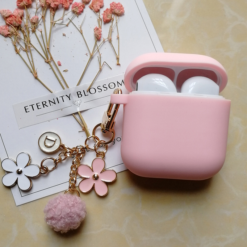 Cute Luxury Japanese Cherry Flower Case for Apple Airpods 1 2 Accessories Bluetooth Earphone Protective Bag Key Ring Strap Gifts
