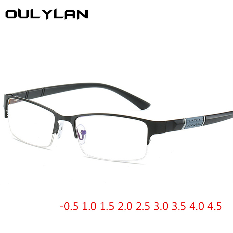 Oulylan Anti Blue Light Finished Myopia Glasses Men Women Metal Half Frame Eyeglasses Sutdent Short Sight -1.0 1.5 -4.5 Diopter