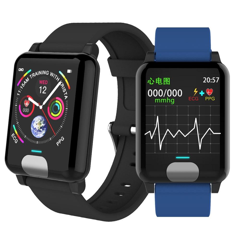 Moniteur de pression artérielle de montre intelligente d'ecg PPG avec l'affichage d'électrocardiogramme traqueur de forme physique de bande intelligente de fréquence cardiaque P67 imperméable à l'eau