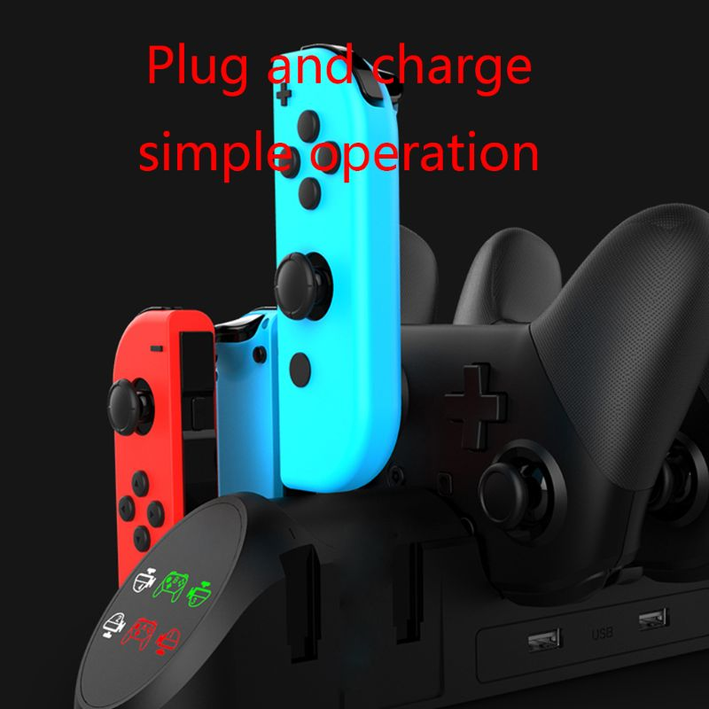 Charging Dock Station Charger Adapter for N-Switch Joy-Con/Pro Controller Handle