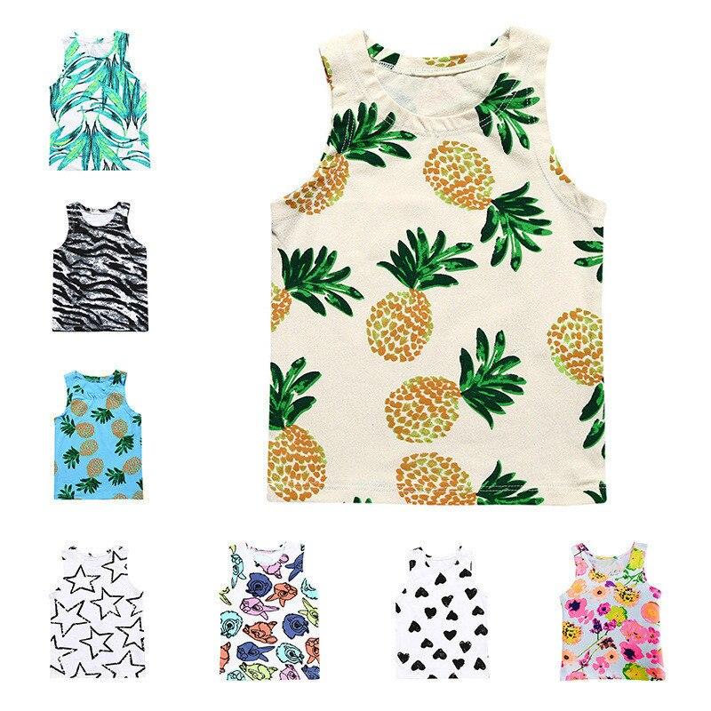 Kids Summer Printed Fruit/Flower/Heart Sleeveless T Shirt  Cotton Infant Baby Top Boys Girls Clothes