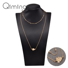 Korean Multi Layer Necklaces Pendants Leaf Leaves with Pearl Delicate Jewelry Gold Beads Long Women beads Necklace Gift(China)