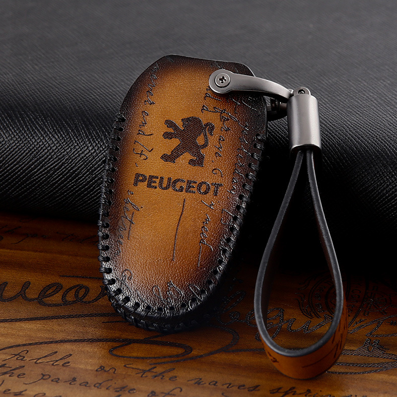 Genuine Leather Key Case Cover Car Accessorie for Peugeot 208 2008 308s 408 508 3008 4008 5008 107 108 206 207 301 307 407 4007