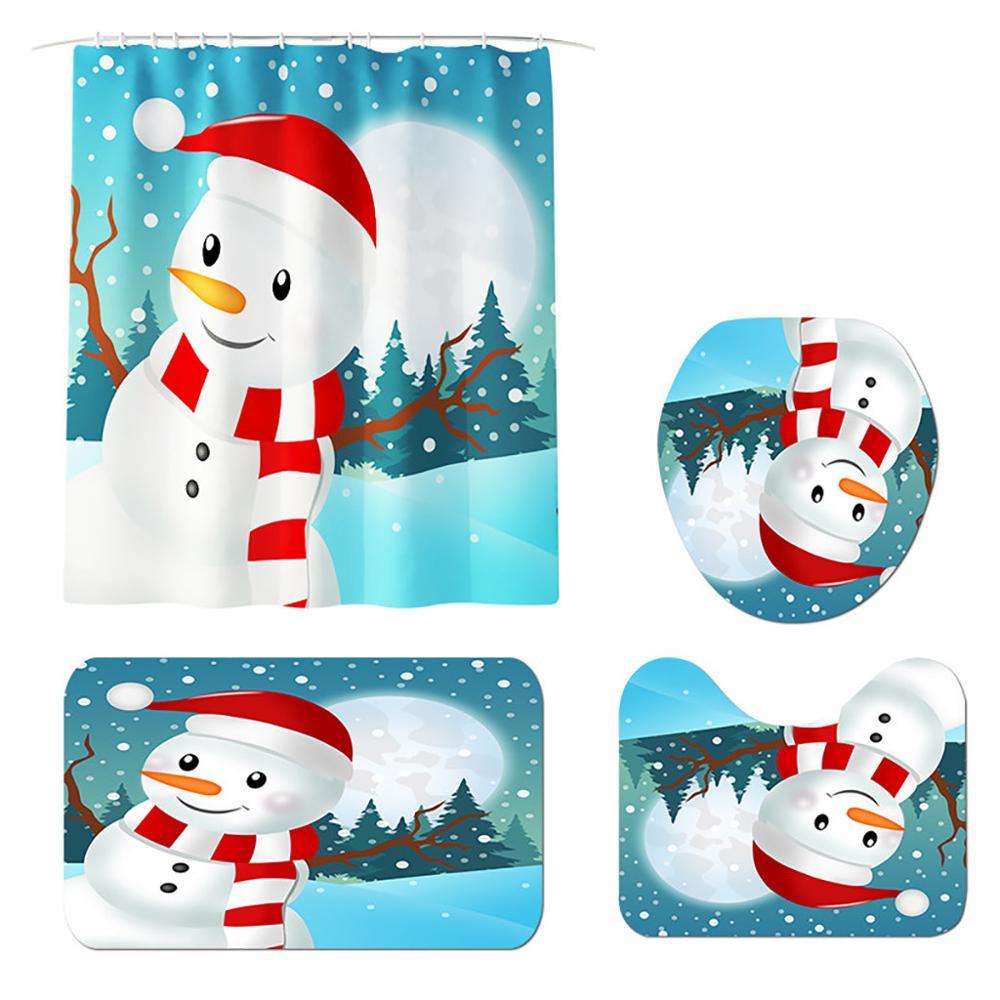 4Pcs Christmas Shower Curtain Bathroom Snowman Carpet Toilet Cover Pad