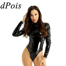 DPOIS Women One Piece Latex Leotard Bodysuit Jumpsuit Nightwear Female Wetlook Leather High Collar Double Zipper Gym Swimsuit