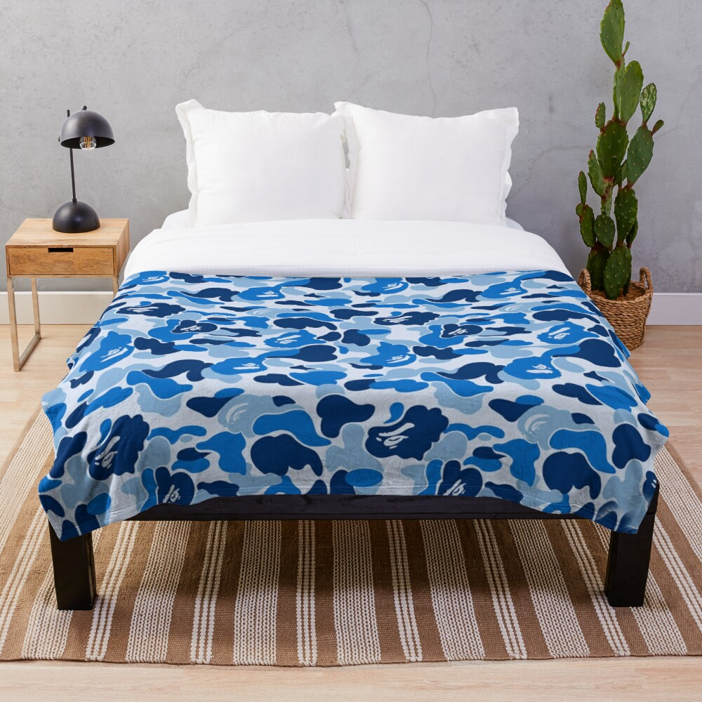 Blue Bape Camo Throw Blanket Soft Sherpa Blanket Bed Sheet Single Knee Blanket Office Nap Blanket