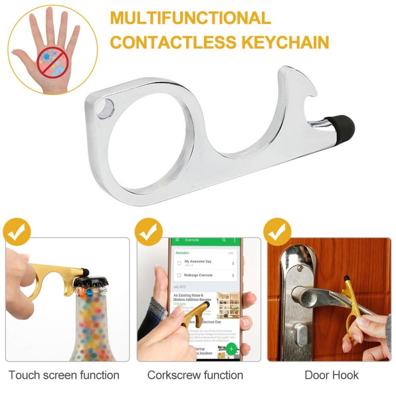 Non-Contact Door Opener Keychain Tool Portable Convenient Safety Handle Opening Loop Hook for Keeping Hands Clean The Contactless Button Tool