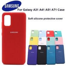 Samsung galaxy a41 a31 capa de silicone líquido capa de seda suave de alta qualidade protetora traseira de toque suave