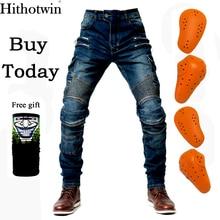 Мотоциклетные синие брюки мужские мото джинсы Защитное снаряжение для езды на мотоцикле мотоциклетные брюки для мотокросса с карманами на молнии мото брюки