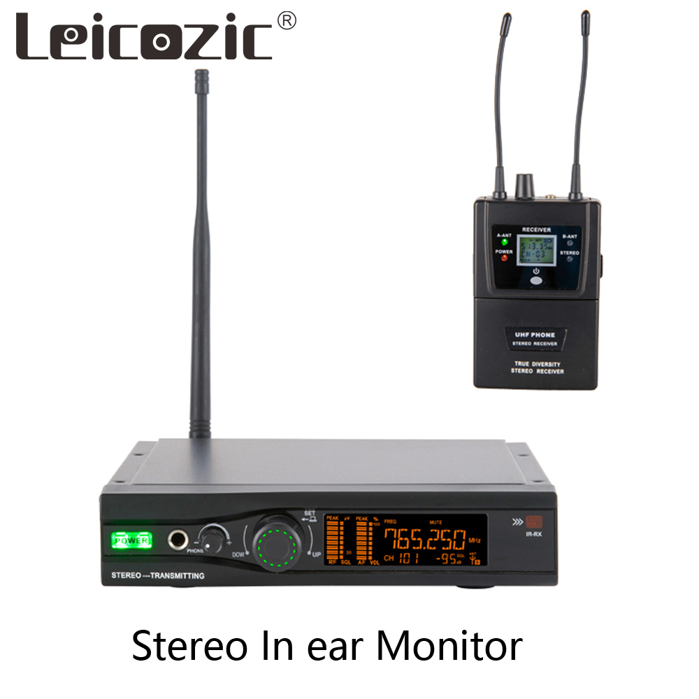 Leicozic Stereo In Ear Monitoring System Wireless Stage Performance In Ear Monitor System Stereo Transmitter & Receiver Bodypack