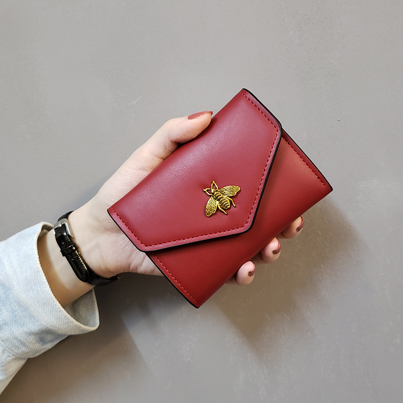 Women's Wallet Style Bees European And American Minimalist Women's Short Three Fold Small Wallet Women's Purse Wallet Leather