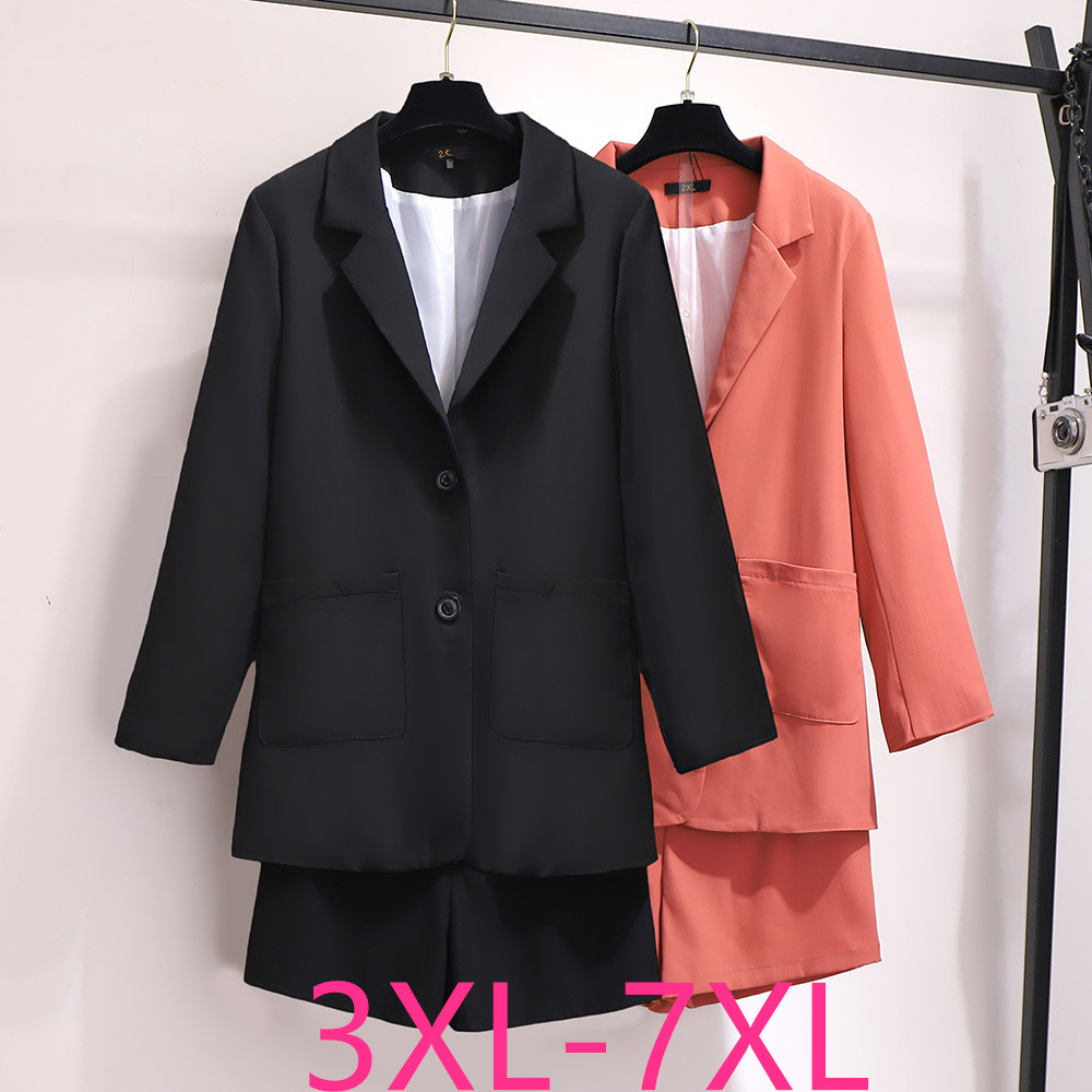 2020 New Spring Autumn Plus Size Work Suits For Women Large Cotton Loose Long Sleeve Blazers And Shorts Sets 3XL 4XL 5XL 6XL 7XL