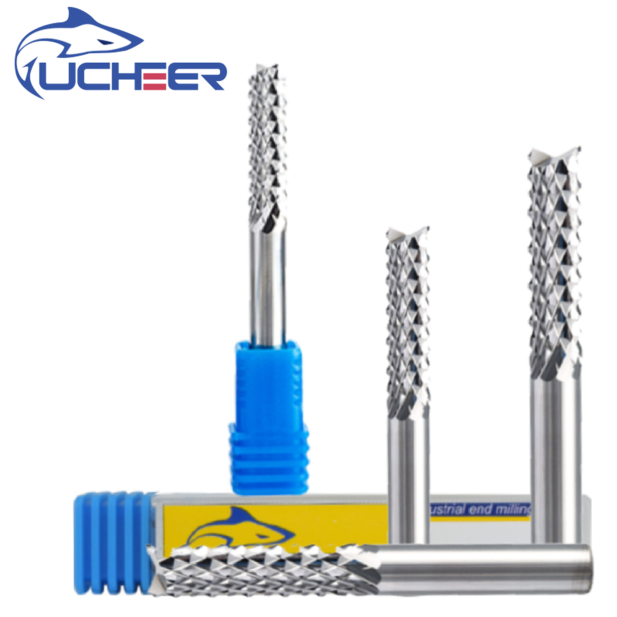 UCHEER  3.175/4/6mm Carbide Tungsten PCB Corn Teeth Cutter Milling Bits Cnc End Mill CNC Router Bits For Engraving Machine