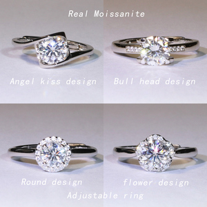 Real Moissanite-Ring 925 Sterling Silver color D-F adjustable Resizable Fashion wedding ring GRA Certificate