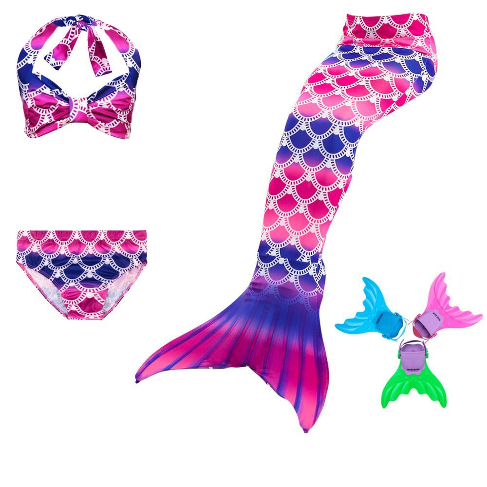 4Pcs/Set Children Mermaid Tail Swimsuit Kids Girls Swimwear Bathing Suit Cosplay Costume Fancy Swimmable Wear Summer Dress
