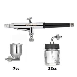 Image 4 - Распылитель краски Nasedal airbrush, Пистолет двойного действия со шлангом, 3 наконечника, 2 чашки для художественной живописи, тату, маникюрный спрей, модель ногтей