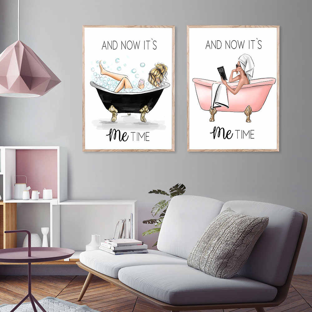 It's Me Time Poster and Prints Vogue Girl on The Bathtub Picture on The Wall for Living Room Nordic Style Decoration Metal Frame