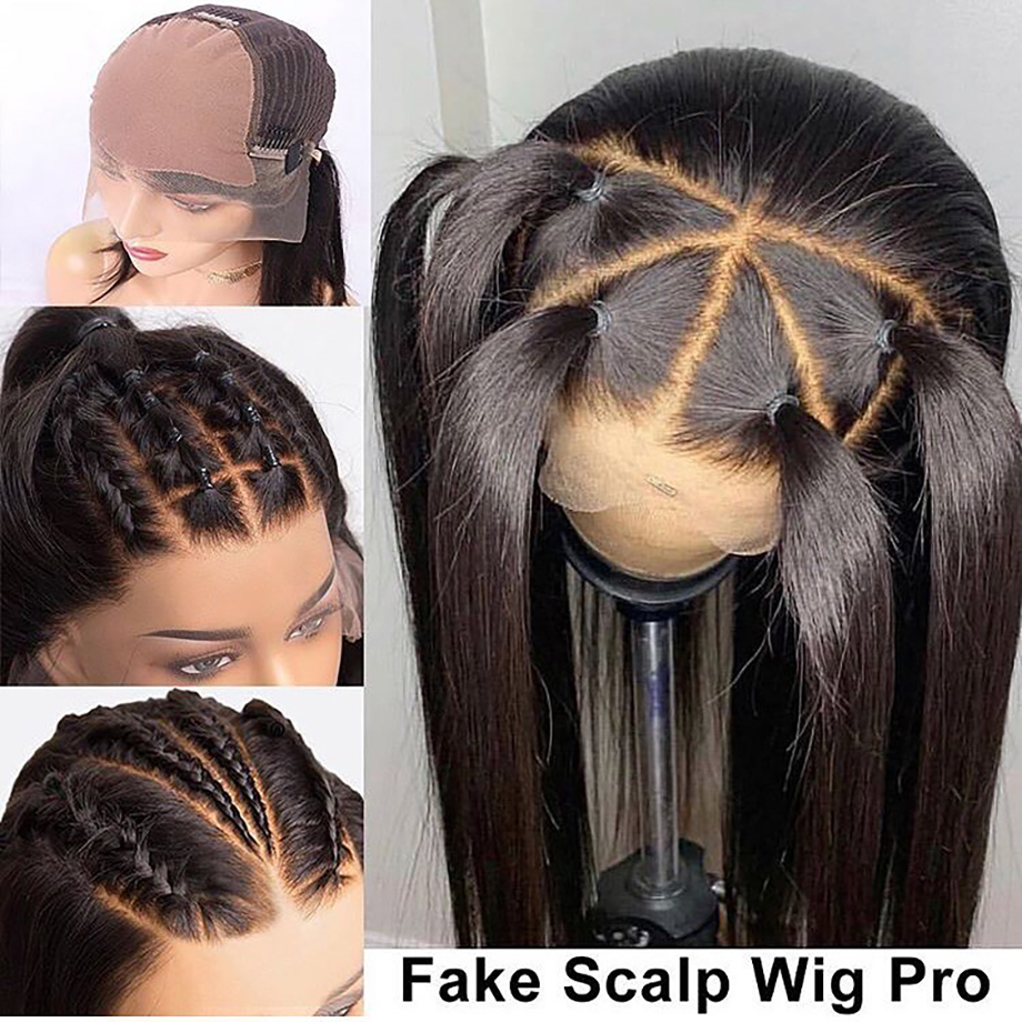 Brazilian Lace Front Human Hair Wigs Fake Scalp Wig Long Straight For Black Women Pre Plucked With Baby Hair 13x6 LACE 180% Remy