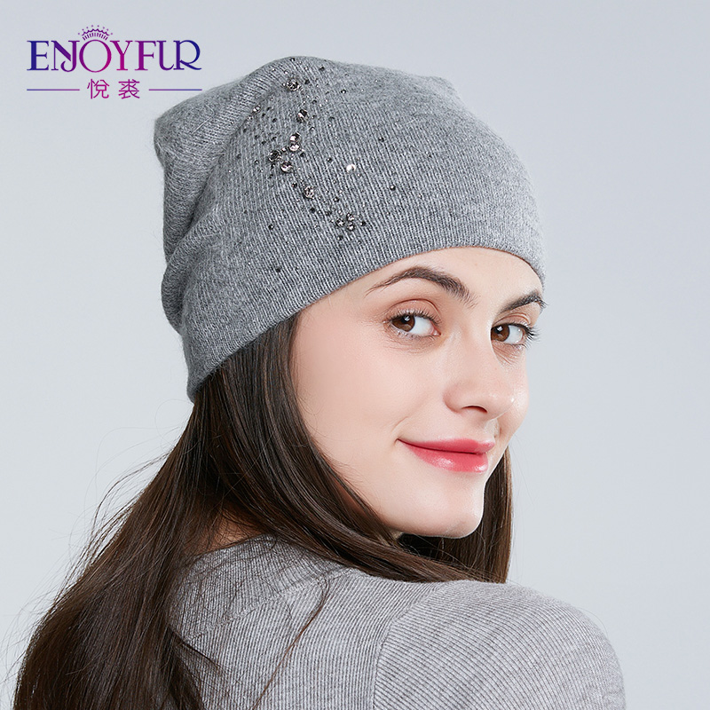 ENJOYFUR Women Winter Hats Knitted Angora Rabbit Hat Fashion New Arrival Rhinestones Beanies For Lady
