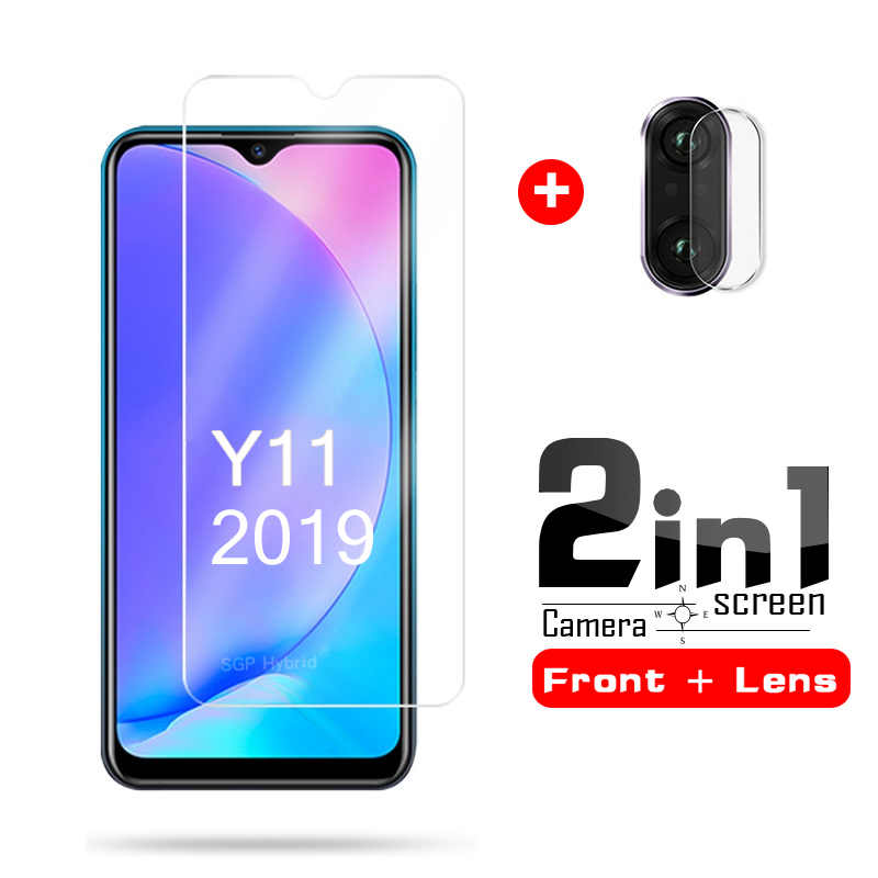 2in1 For Vivo Y11 2019 Screen Protector Tempered Glass For Vivo Y11  Protective Film Ultrathin Phone Glass For Vivo Y 11 Y 11