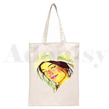 Ice Coffee Splatter Charli DAmelio Ulzzang Print Reusable Shopping Women Canvas Tote Bags Eco Shopper Shoulder Bags 11