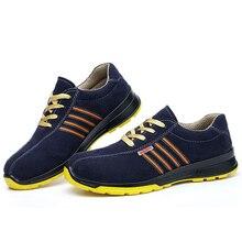 Мужская повседневная рабочая обувь со стальным носком большого размера, Рабочая обувь из мягкой кожи, рабочая Утепленная обувь, синяя безопасная обувь, защитная мужская обувь