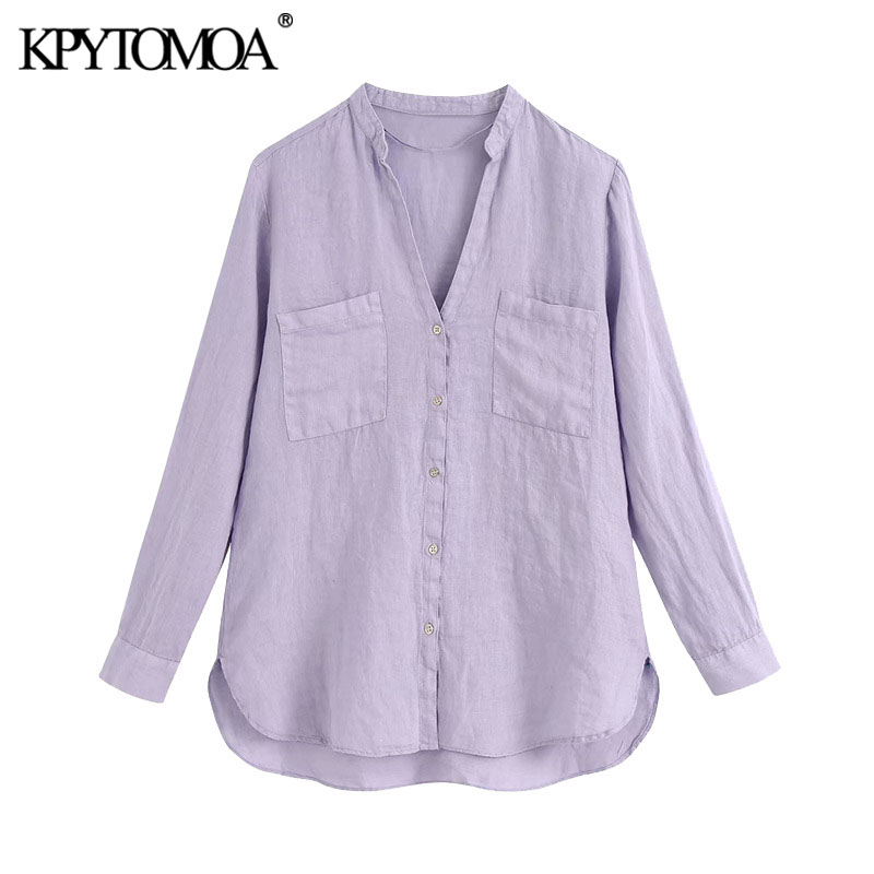 KPYTOMOA Women 2020 Fashion With Pockets Linen Blouses Vintage Long Sleeve Button-up Female Shirts Blusas Chic Tops