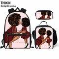 Рюкзак для девочек-подростков THIKIN  черный школьный рюкзак в африканском стиле с мягкой спинкой и сумкой через плечо