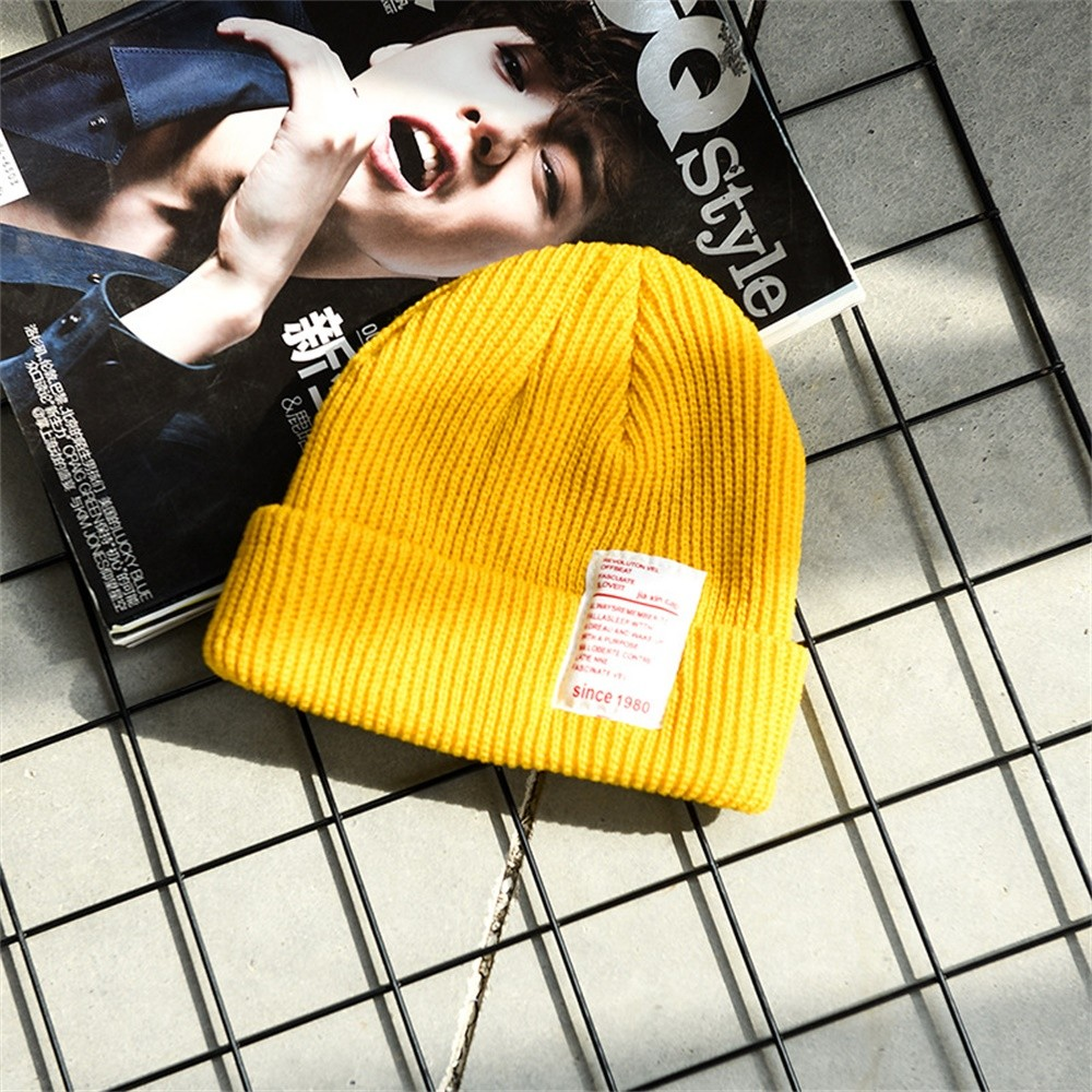 Womens Winter Slouchy Beanie Hats Warm Fleece Printed Label Cuffed Cap Korean Version Of The Set Of Cute Wool Hat Yellow