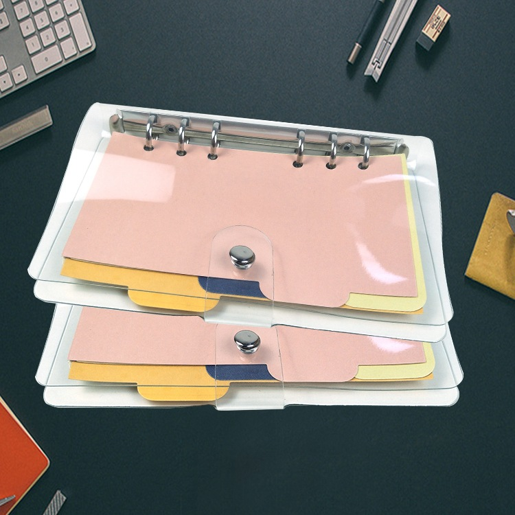 Coloffice Learning Plan Handbooks Transparent A5 A6 A7 Loose-Leaf Book Shell Simple Business Office Notebook Metal Binder Shell