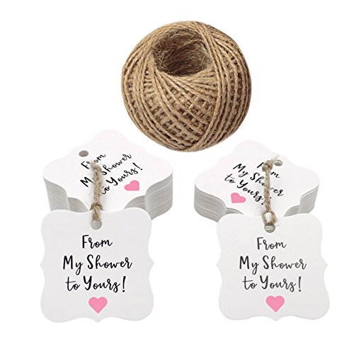 From My Shower To Yours Favor Tags,100 Pcs Baby Shower Favor Tags With 100 Feet Jute Twine,3cm Thank You Paper Gift Tags (Pink)