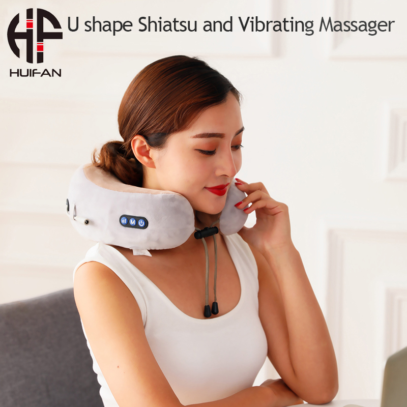 HUIFAN Electric Neck Massager Cervical Massage Pillow Shiatsu Neck Massager with Heat for Lower Back Pain Relief