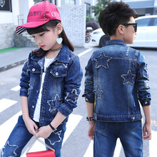 Girls Set Star Jacket+Jeans 2pcs Suits 2019 Fashion Children Clothing for Girls Suit Teenage Boys Clothing Kids Tracksuit bibihou girls clothing set sport suit clothes navy style girls sports suits teenage kids tracksuits sportswear jumpsuit boys