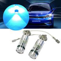 DRL trasero antiniebla LED H3 de 100W, superbrillante, azul hielo, Bombilla para antiniebla, luces de conducción, luces diurnas DRL, 2 uds.