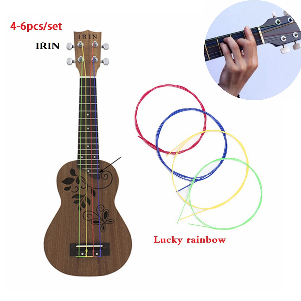 IRIN 4-6pcs/set Nylon Rainbow Colorful Ukulele Strings Durable Replacement Part For Ukulele Guitar Musical Instrument Accessorie