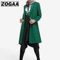 European winter women's dark green slim long sleeve style woollen long coat