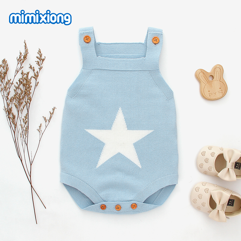 Baby Bodysuits Knitted Newborn Boys Girls  Body Tops Five Star Infant Sleeveless Onesie Toddler Kids Jumpsuit Clothes 0-18Months