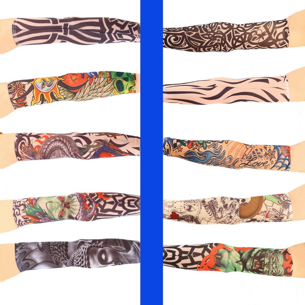 1pc Fake Tattoo Elastic Arm Sleeve Arm Stockings Sport Skins Sun Protective Waterproof Unisex Shoulder Tattoo Sleeve Men Women