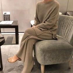 Costumes tricotés pour femmes nouveau hiver à la mode tricoté pantalon ensemble ample épais chandails large jambe pantalon pantalon deux pièces ensemble